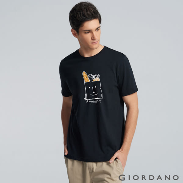 【GIORDANO】男裝休閒圓領印花短袖T恤-54 標誌黑