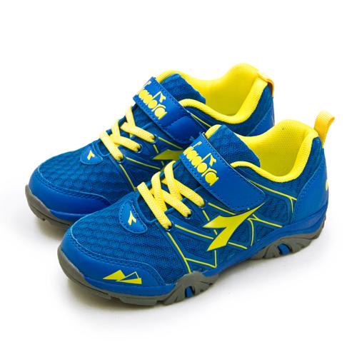 LIKA夢 DIADORA 迪亞多那 19cm-23cm 戶外4E寬楦越野跑鞋 放肆探險系列 藍黃灰 7196 中童