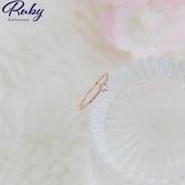 戒指 韓國直送‧單顆水鑽流線羅紋戒指-Ruby s 露比午茶
