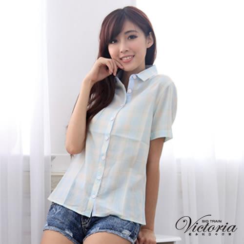 Victoria TENCEL格紋短袖襯衫-女-水藍