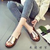 夏季新款韓版白色露趾平底一字拖