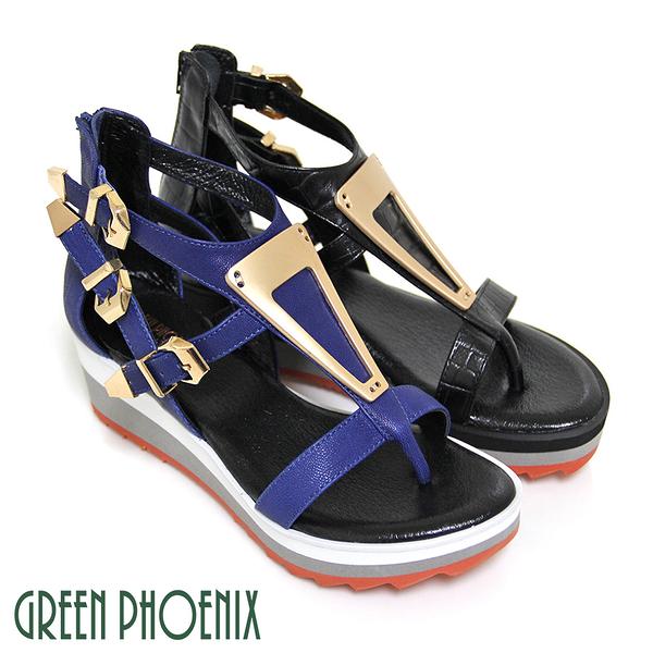 U28-20306女款夾腳羅馬涼鞋  金屬片鏤空山羊皮雙色厚底夾腳羅馬涼鞋【GREEN PHOENIX】BIS-VITAL