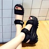 厚底涼鞋女松糕夏季高跟厚底楔形小碼運動老爹增高-Milano米蘭