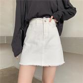 牛仔短裙 新款新款女牛仔短裙毛邊黑白兩色牛仔裙 a字半身裙夏高腰學生