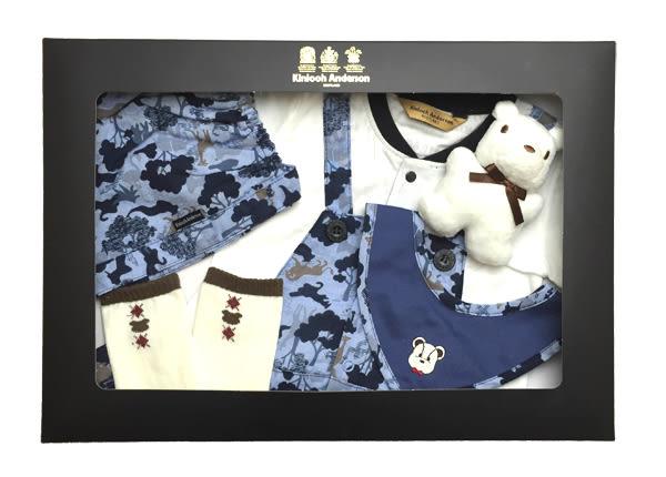 【金安德森】春夏新生兒禮盒-草原動物剪影印花假兩件兔裝(共二色)