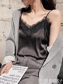 蕾絲打底衫吊帶背心女外穿V領蕾絲無袖內搭打底衫黑色絲質綢緞性感潮上衣夏 嬡孕哺