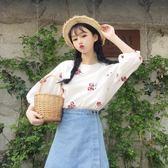 棉麻上衣 夏裝女裝韓版小清新花朵刺繡短款寬鬆棉麻短袖T恤半袖打底衫上衣 芭蕾朵朵