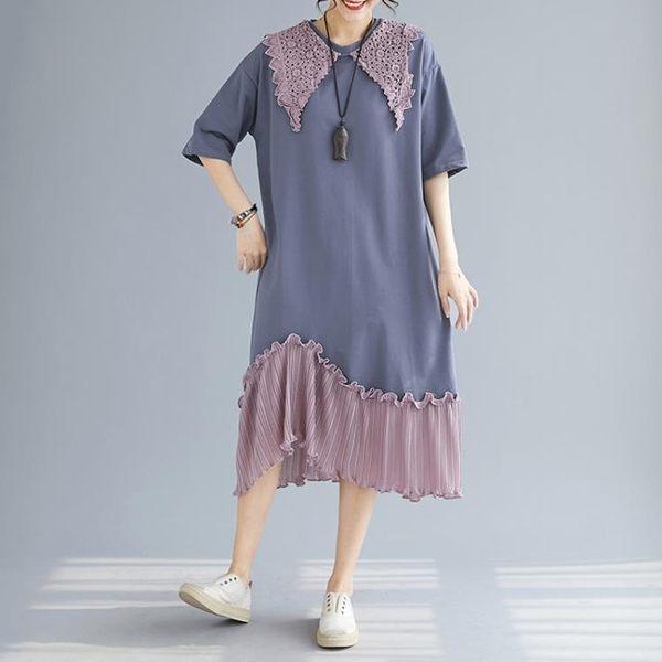 (批發價不退換)7431#復古蕾絲花邊領撞色拼接短袖連身裙女百褶裙 #N-801日韓屋