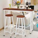 靠牆吧台桌家用客廳簡約餐桌隔斷簡易小吧台桌椅組合咖啡高腳桌『極有家』igo