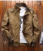 戶外休閒外套寬鬆大碼寬鬆春秋棉質立領夾克衫工裝夾克上衣男裝