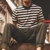 Polo衫日系新款潮條紋短袖polo衫男牛仔翻領短袖t恤修身保羅衫文藝 新品特賣