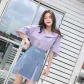 限時38折 韓國風小清新格子襯衫開叉裙套裝短袖裙裝潮時尚
