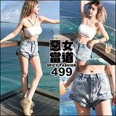 克妹Ke-Mei【AT46976】原單!appare品牌磨翻捲邊水洗藍牛仔短褲