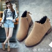 短靴秋冬季女歐美風粗跟中跟女韓版百搭休閒女鞋子最低價 優家小鋪