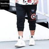 潮牌大尺碼男裝 特大號顯瘦七分褲 潮男街【ManShop】