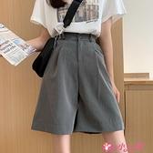 西裝短褲 夏季2021年新款韓版高腰直筒西裝褲子五分褲寬鬆闊腿短褲女潮 小天使 618