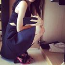洋裝 韓版 黑色露背露腰V領無袖背心連衣裙 小禮服