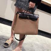 歐美時尚凱莉包2018新款女包復古公文包潮手提包百搭單肩包包 LOLITA