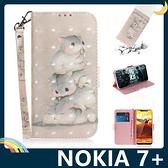 NOKIA 7 Plus 彩繪漸層保護套 卡通側翻皮套 雷射3D視覺 支架 插卡 磁扣 附掛繩 手機套 手機殼 諾基亞