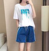 短褲運動套裝女新款春夏季時尚寬鬆短袖跑步休閒運動服兩件套