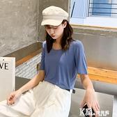 莫代爾棉 絲光棉純色大碼U領體恤女夏裝2020新款莫代爾t恤女短袖女