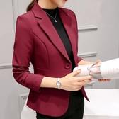 米朵姿秋冬新款修身韓版大碼小西裝外套長袖職業氣質小西服女   全館免運
