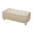 【森可家居】萬宜香檳色收納長凳 7ZX348-2 皮布 沙發椅凳 水鑽