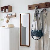 實木穿衣鏡壁掛鏡子臥室掛牆鏡收納櫃客廳牆上北歐簡約全身鏡 『名購居家』igo