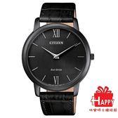CITIZEN星辰Eco-Drive  GENT'S 紳士時尚羅馬超薄光動能腕錶 AR1135-10E   -黑
