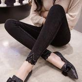 黑色加絨打底褲女外穿秋冬新款高腰顯瘦仿牛仔緊身小腳鉛筆褲