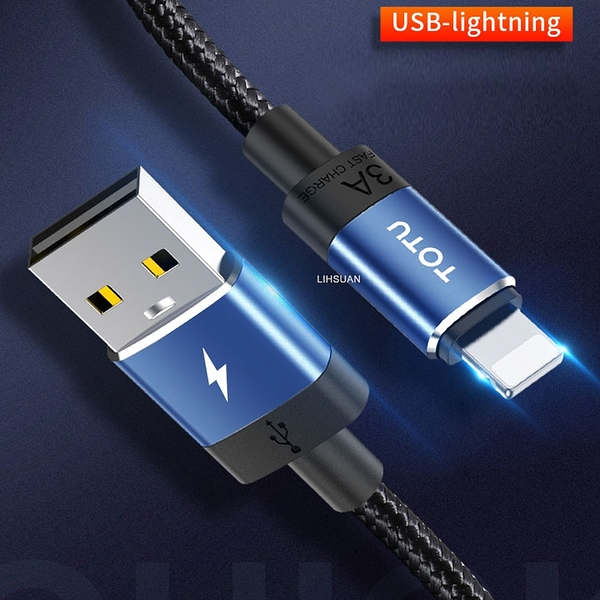 TOTU Lightning/iPhone充電線傳輸線編織線快充線 3A快充 極速系列 120cm 午夜藍