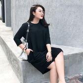 大碼女裝黑色寬松減齡裙子2019新款春裝遮肚子顯瘦連身裙