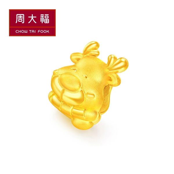 可愛麋鹿黃金路路通串飾/串珠 周大福 幸福緣點系列