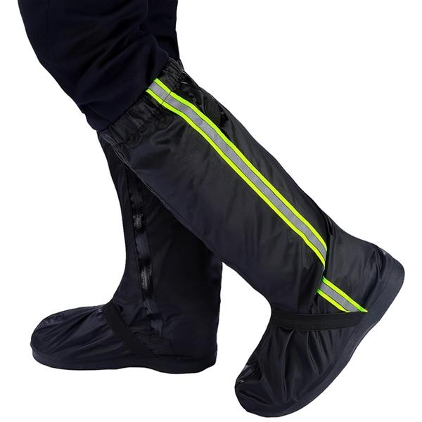 加厚牛津布高筒拉鍊防雨鞋套 夜間反光 耐磨防滑橡膠底騎行成人鞋套【ZB0501】《約翰家庭百貨