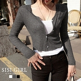 SISI【L20014】美式簡約V領鈕釦長袖薄款微透膚短版外套罩衫上衣空調衫春秋顯胸曲線