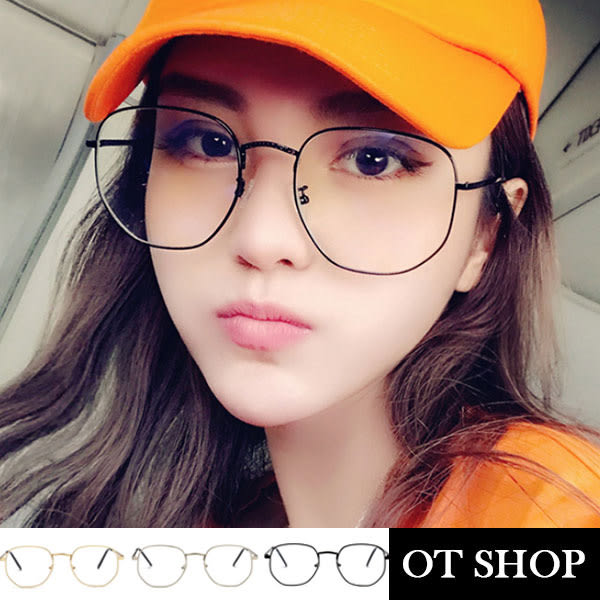 OT SHOP眼鏡框‧不規則方金屬鏡架平光眼鏡‧韓版歐美日系時尚街頭文青百撘‧現貨‧3色‧U44