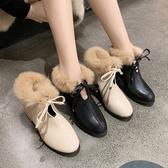 白色馬丁靴女潮ins2020新款加絨女士裸靴粗跟冬季高跟鞋英倫短靴
