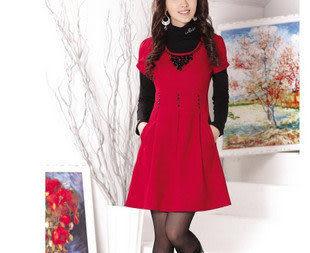 全民瘋搶特價促銷 春新正品淑女 時尚修身 羊毛呢 連衣裙