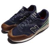 New Balance 復古慢跑鞋 997 系列 NB 綠 藍 白底 皮革 麂皮鞋面 運動鞋 男鞋【PUMP306】 ML997HNAD