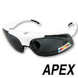 APEX 976 偏光眼鏡-白 /含近視內框 戶外 自行車 跑步