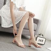 新款 羅馬涼鞋女夏季粗跟蝴蝶結一字扣小碼33JK162『樂愛居家館』