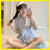 睡衣女夏季韓版清新學生短袖純棉冰絲可愛和服家居服兩件套裝日式