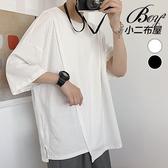 男短T 素面拼接不規則寬鬆五分袖上衣【NW620110】