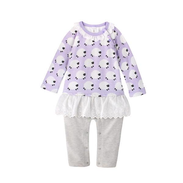 造型連身衣 長袖 假兩件 女寶寶 蕾絲 上衣裙 爬服 哈衣 Augelute Baby 61080