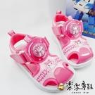 【樂樂童鞋】台灣製POLI安寶電燈涼鞋-粉色 P053 - 女童鞋 男童鞋 涼鞋 大童鞋 兒童涼鞋 大童涼鞋