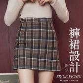 短裙 Space Picnic 格紋毛呢A字褲裙(現貨)【C19092075】