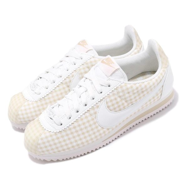 Nike 阿甘鞋 Wmns Classic Cortez QS 白 米白 格紋 復古慢跑鞋 女鞋 運動鞋【PUMP306】 BV4890-100