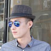 帽子男 禮帽 韓版秋冬保暖爵士帽出遊戶外休閒格子英倫爵士男女士帽子紳士帽《印象精品》yx419