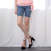Victoria 中腰淺藍配線反摺短褲-女-淺藍-VS550474