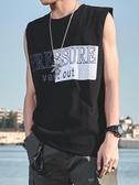 新款無袖t恤 男潮流寬鬆籃球圓領個性bf潮牌嘻哈汗衫坎肩純棉背心